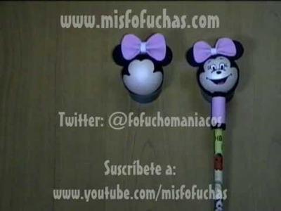 Cómo hacer fofulápices y fofuchas 3D de Minnie Mouse en foami Parte 3