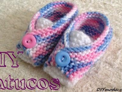 Cómo tejer patucos o zapatitos de bebé sin costura con dos agujas.