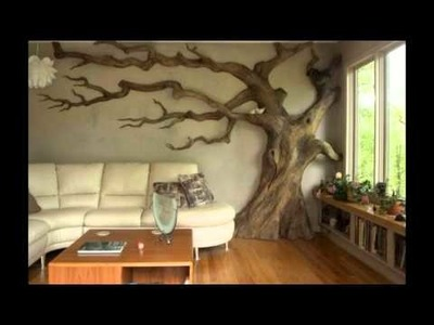 Diseño de paredes pintadas con árboles