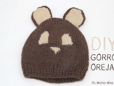 DIY Cómo hacer gorro de lana con orejas para bebe