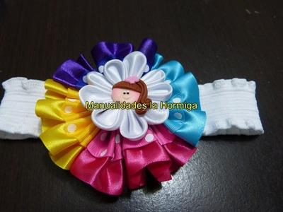 Flores redondas en cinta de raso y gross para decorar accesorios para el cabello  No.  327