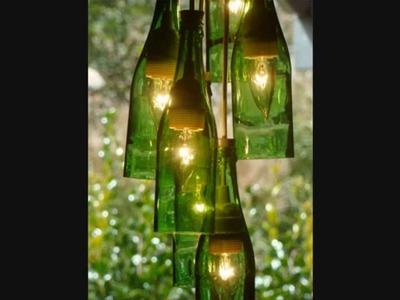 Lamparas con botellas de vidrio reciclado