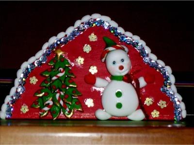 Manualidades navideñas servilletero de porcelana fría con brillos