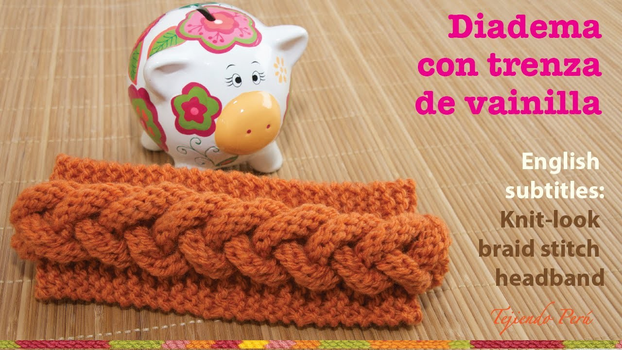 Mini tutorial # 7: vincha o diadema con trenza en relieve en 2 agujas. English subtitles