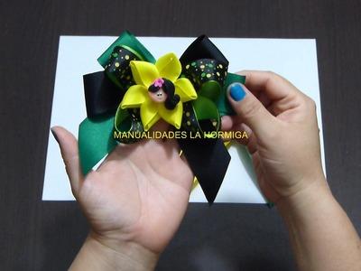 Moños para el cabello decorados con flores en cinta paso a paso.  Manualidadeslahormiga