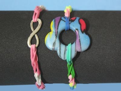 Pulsera de ligas o gomitas con abalorios. Rainbow Loom bracelet