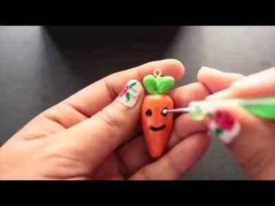 Tutorial♥ Carrot Kawaii Polymer Clay Charm. Zanahoria carita kawaii de arcilla polimerica