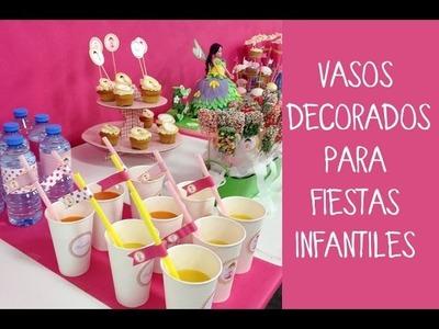 Vasos decorados para fiestas infantiles