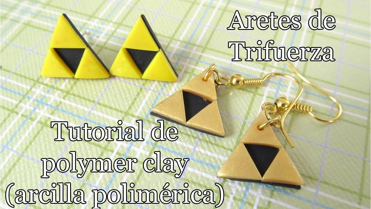 Como hacer aretes de Trifuerza (Triforce) de polymer clay tutorial
