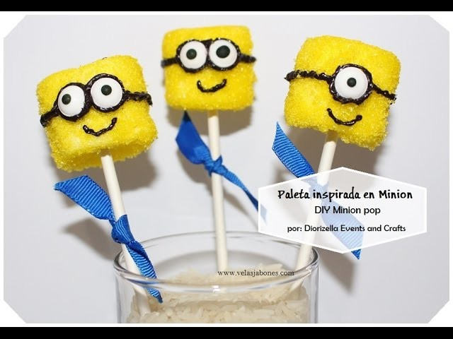 Como hacer paleta  Minion:: DIY Minion pop. Diorizella Events and Crafts
