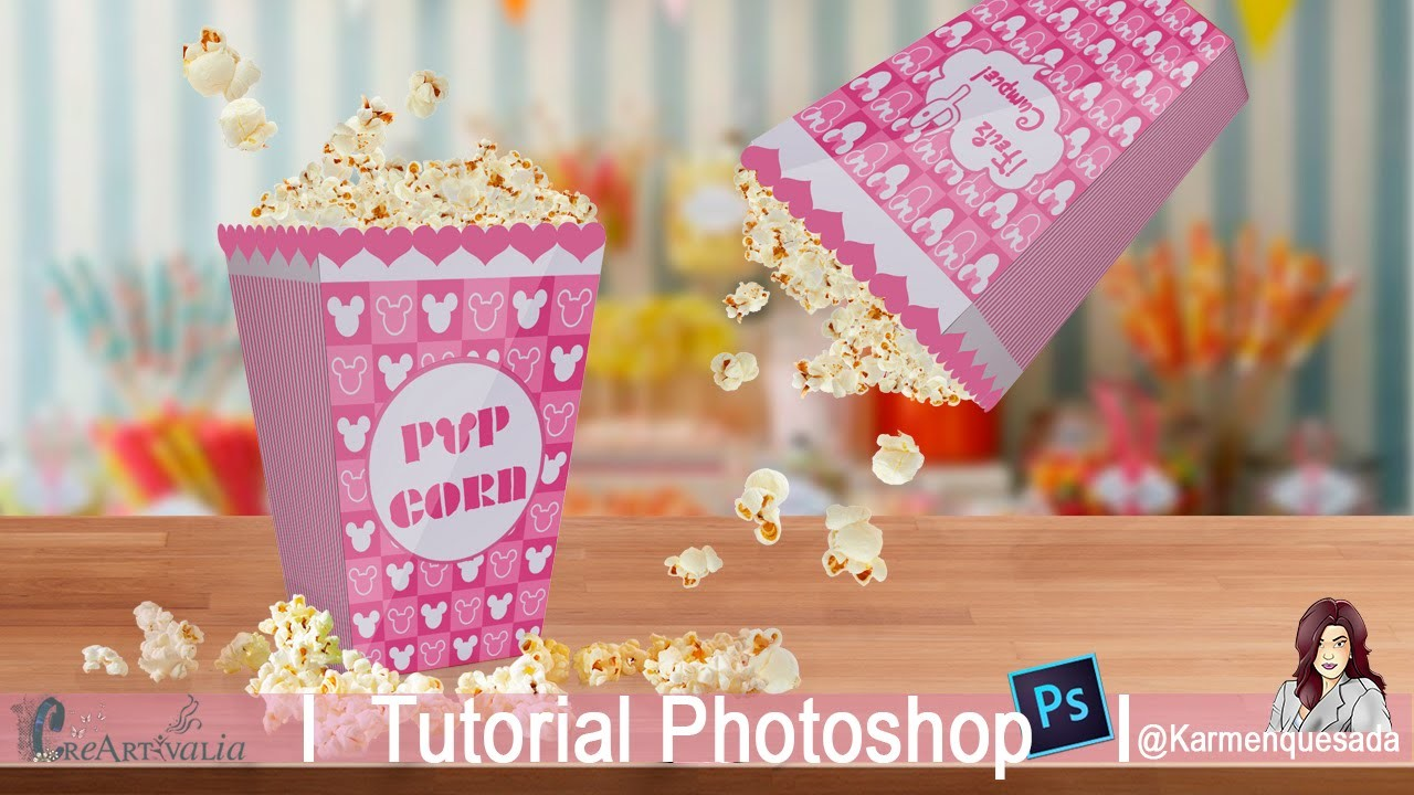 Caja de palomitas. Box PopCorn: Tutorial Photoshop Candybar @Karmenquesada .