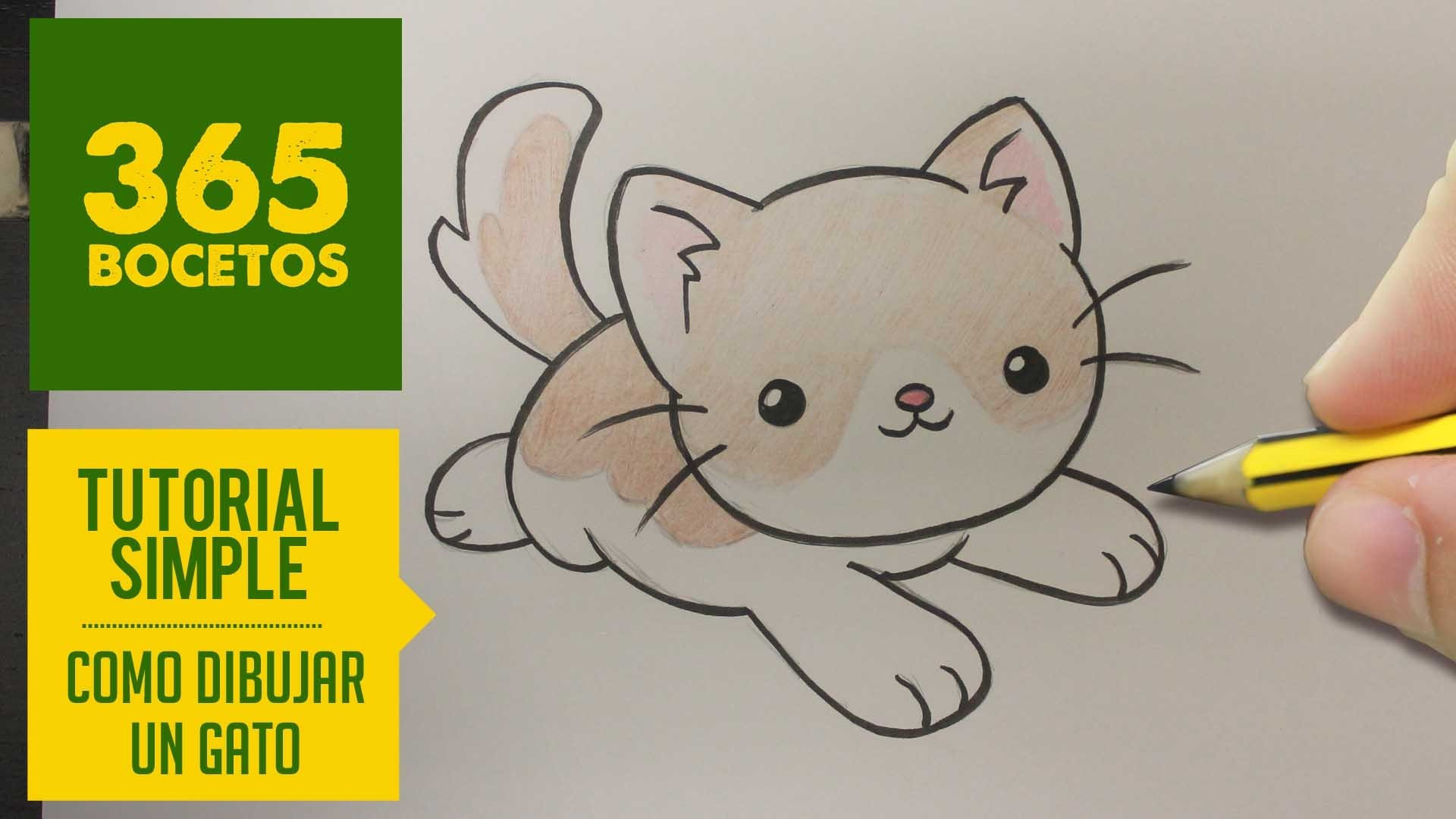 COMO DIBUJAR UN GATO KAWAII PASO A PASO - Dibujos kawaii faciles - How to draw a cat