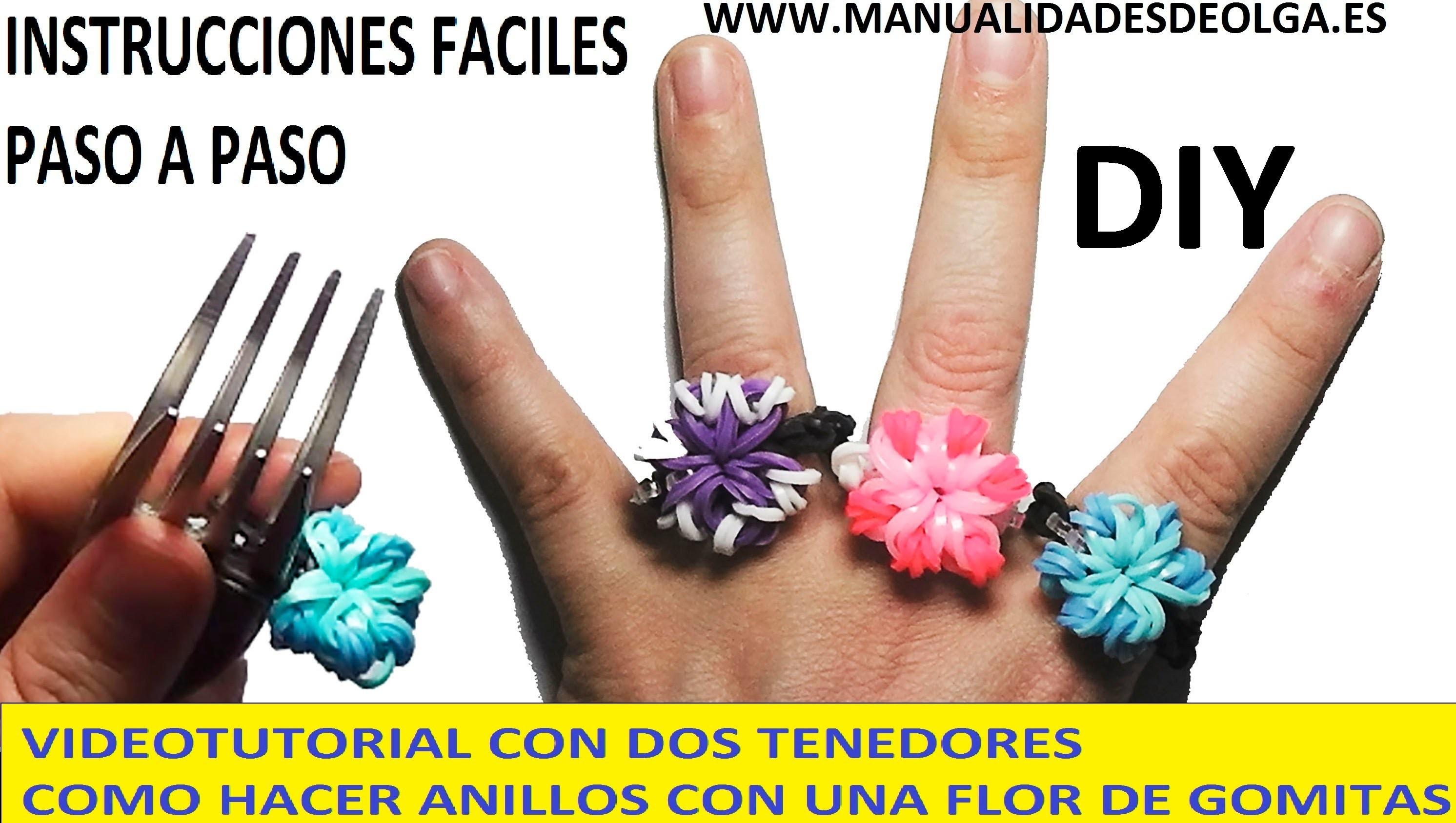 COMO HACER UN ANILLO CON UNA FLOR DE GOMITAS CON DOS TENEDORES. MUY FACIL. VIDEO TUTORIAL DIY