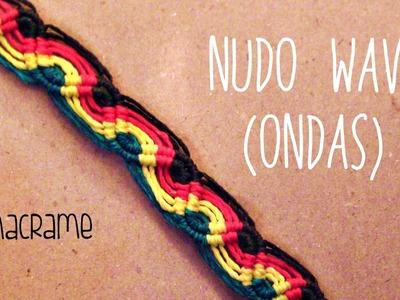 Como hacer una pulsera de hilo encerado➢ NUDO WAVE- ONDAS