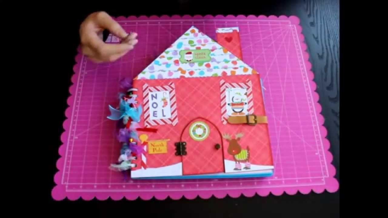 Escuela BellaLuna Crafts Taller de Scrapbooking Álbum casita Papa Noel