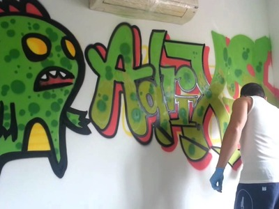 Pintando la Pared de la habitación de AdrixisWTF. Drawing in the wall