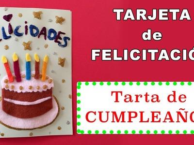 Tarjeta de cumpleaños con tarta