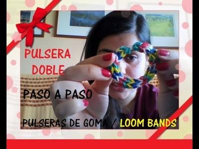 Como hacer pulseras de goma DOBLE. loom bands paso a paso 2014