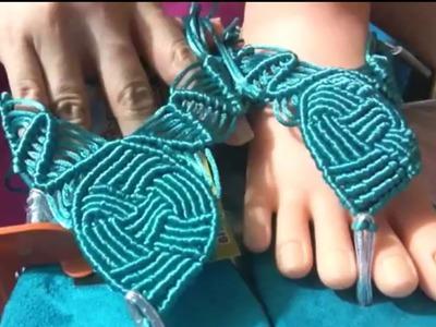Como hacer  sandalias con nudos de macrame.