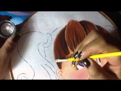 Pintura en tela niña calabaza #2 con cony
