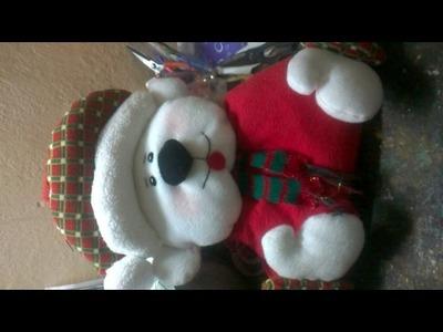 Como hacer un cubre sillas  oso navideño