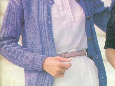 Patrón para tejer suéter  abierto en bonheur a 2 agujas