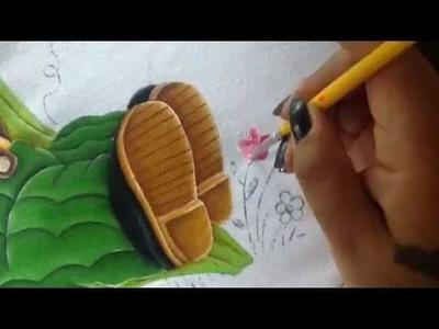 Pintura en tela niño elote # 5 con cony