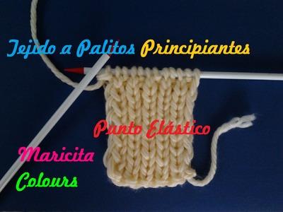"Aprende a tejer a dos Agujas (Lección 7)  ""Punto Elástico "" Tutorial Palitos Principiantes"