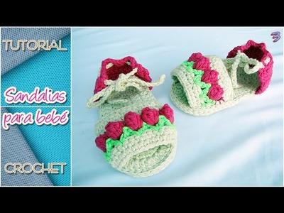 Cómo tejer sandalias a crochet para bebé, TODOS LOS TALLES (parte 3)