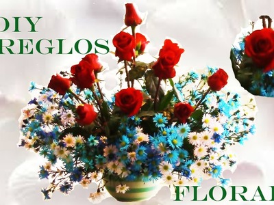 DIY arreglos de rosas rojas naturales - arrangements of red roses and blue