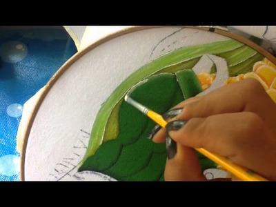 Pintura en tela niño elote # 4 con cony