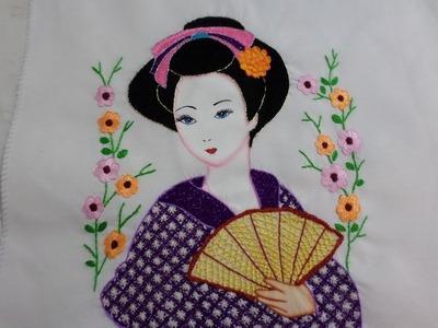 Bordado Fantasía Geisha Terminada