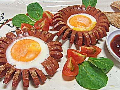 Cómo hacer un desayuno original. Sausages flowers.