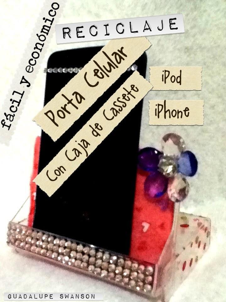 Como hacer un Porta Celular iPhone iPod con caja de cassette fácil Reciclaje cell holder
