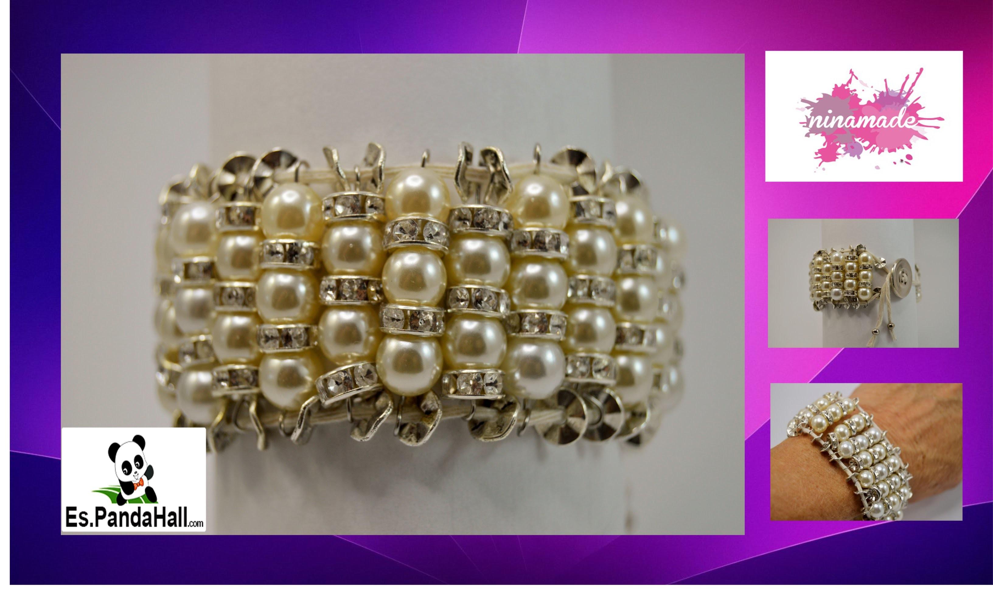 DIY.Tuto18.Pulsera con perlas y rhinestones. Bracelet with Pearl and rhinestone. Es.PandaHall.com