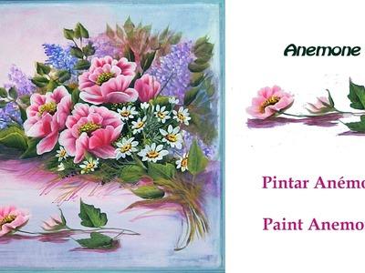 Lienzo composición con anemonas . Painting Anemones