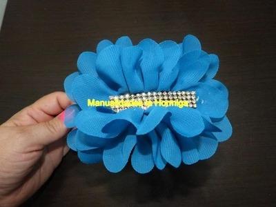 Moños en tela  velo  decoradas con flores, accesorios para el cabello