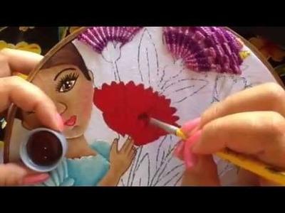Pintura en tela niña de claveles #4 con cony