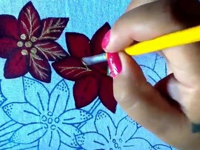 Pintura en tela vendedora de nochebuenas uno con cony