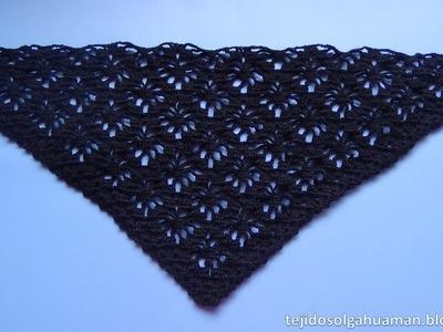 Chal tejido a crochet paso a paso en punto arañitas video 2
