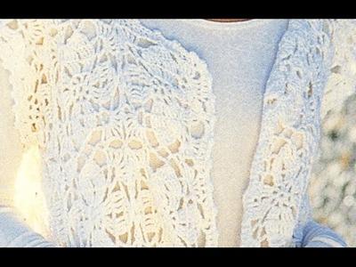 Chaleco con motivos de flores a crochet