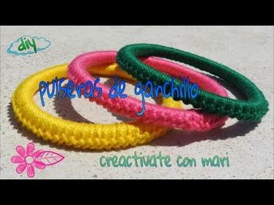 Diy como hacer pulseras de crochet o ganchillo faciles y originales