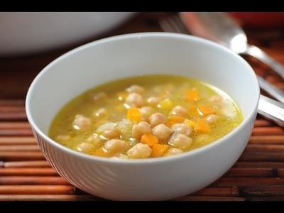 Garbanzos con zanahoria y apio - Chickpea and celery soup - Recetas de sopas