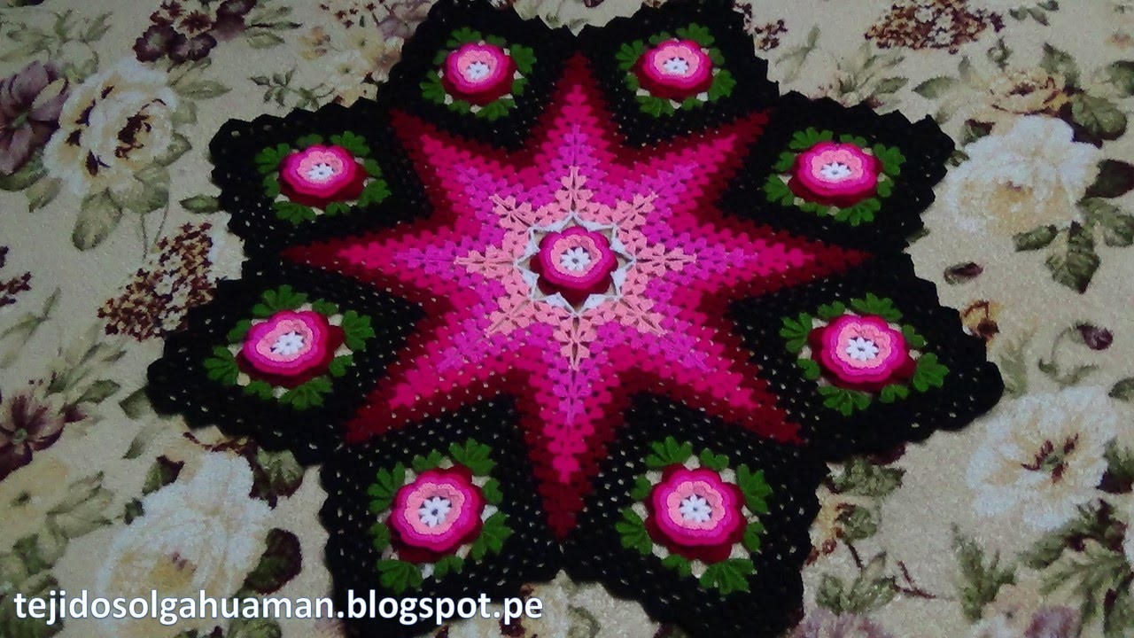 Tapete o Carpeta tejido a crochet paso a paso video 1