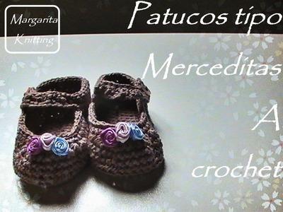 Patucos tipo merceditas de bebe a crochet (zurdos)