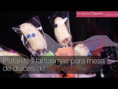 Platanitos fantasmas para mesa de dulces de halloween DIY Alejandra Coghlan