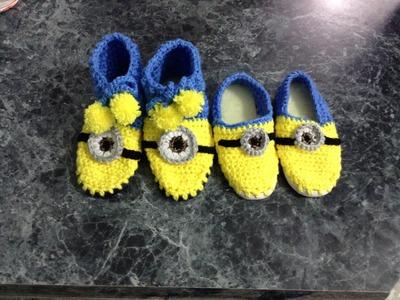 Pantuflas minions, crochet, gancho, muy fácil