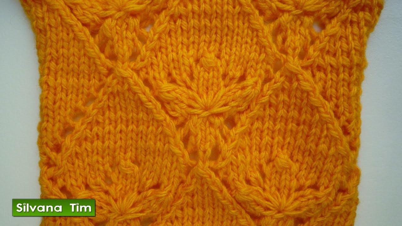 Punto (puntada) FLOR en ROMBO. Tejido con dos agujas # 246 Knitting.