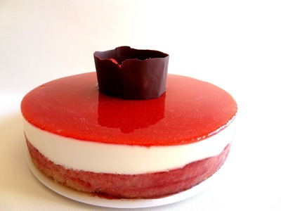 Receta: Tarta de queso fría. Cheesecake con mermelada de fresas