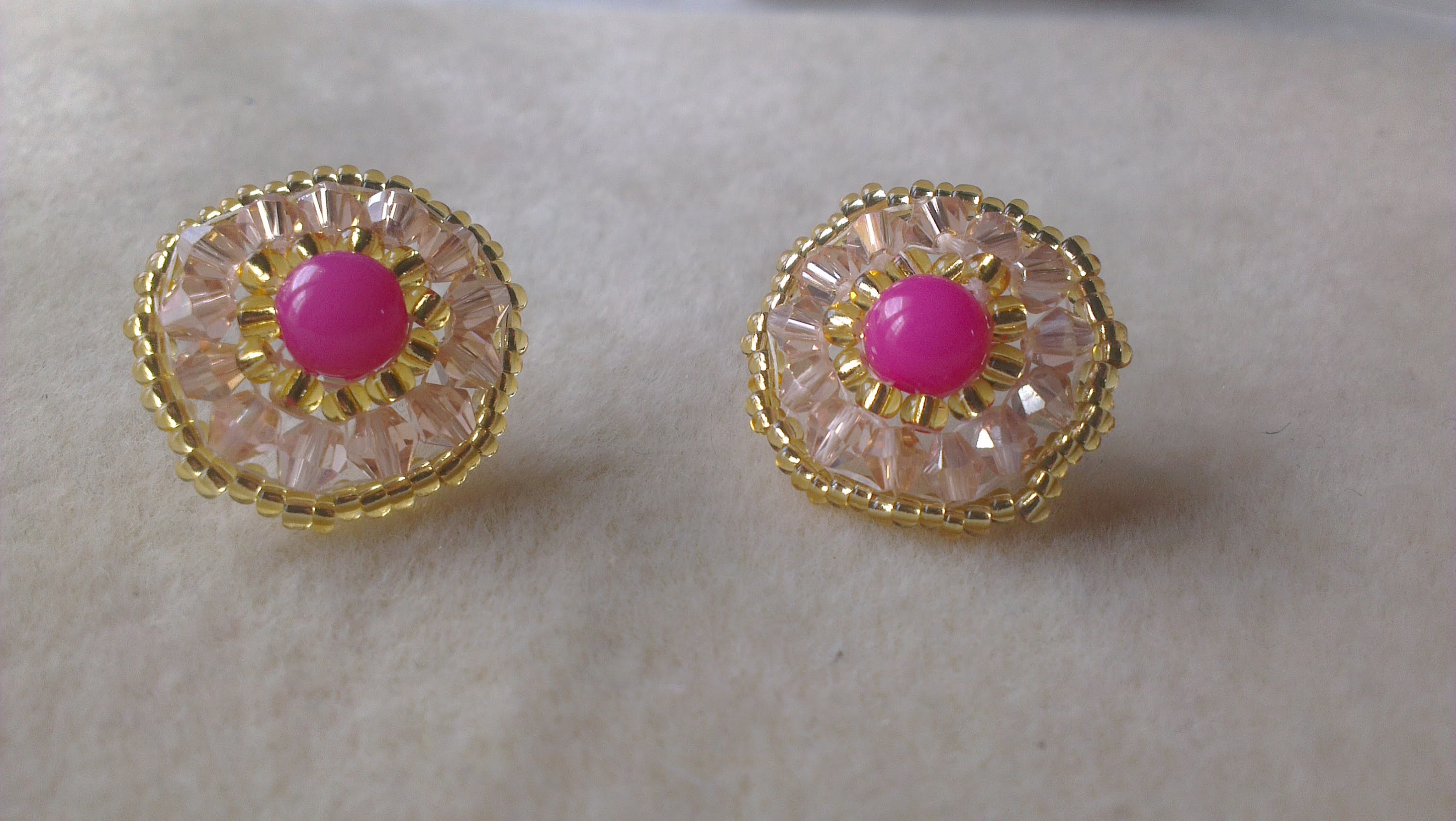 PENDIENTES ROSA Y ORO - PINK AND GOLD EARRINGS